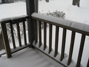 Snowing on my front porch
