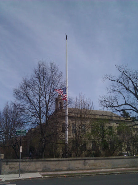 half mast at town hall